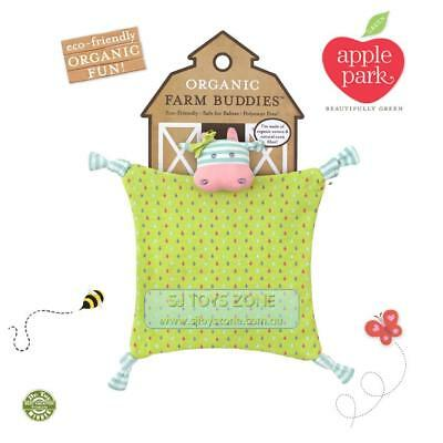 NEW Apple Park ORGANIC COTTON  Farm Buddies Baby Comforter Blankie Belle Cow