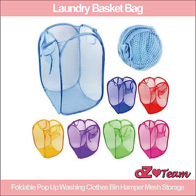 Laundry Basket Bag Foldable Pop Up Washing Clothes Bin Hamper Mesh Storage