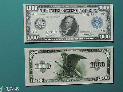 Reproduction $1000 1918 FRN US Paper Money Currency Copy