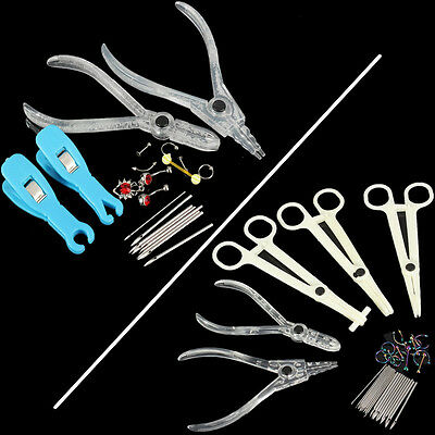 Pro Ear Lip Naval Tongue Belly Body Piercing Forcep Septum Nose Jewelry Kit