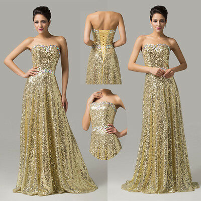 2015 Sexy Womens Sequins Long Formal Evening Bridesmaid Prom Party Dresses Gowns