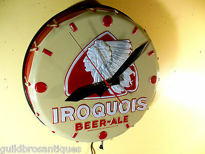 VINTAGE**RARE**1954 IROQUOIS BEER TOM TOM LIGHTED INDIAN HEAD CLOCK SIGN