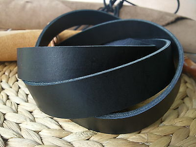 190cm EXTRA LONG BLACK 3.2 to 3.6mm THICK FULL GRAIN LEATHER STRAP ALL WIDTHS
