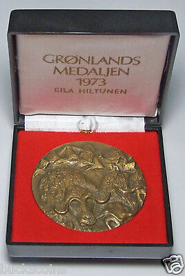 ANDERS NYBORG NORDIC ART 1973 70mm BRONZE CASED MEDAL GREENLAND ONLY 5000 ISSUED