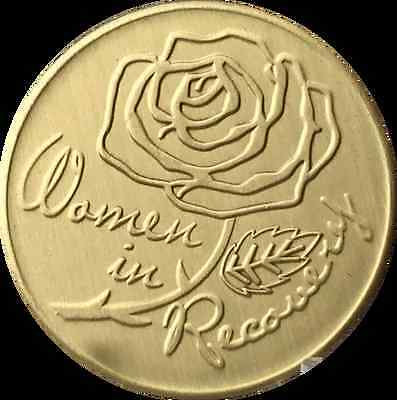Women In Recovery Rose Serenity Prayer Bronze Medallion Sobriety Chip AA Coin