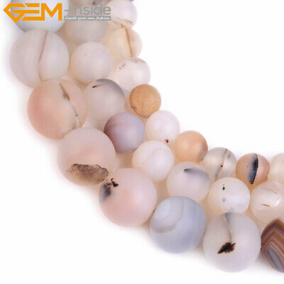 """Natural Stone Matte Round Gray Leaf Onyx Agate Beads For Jewelry Making 15"""""""