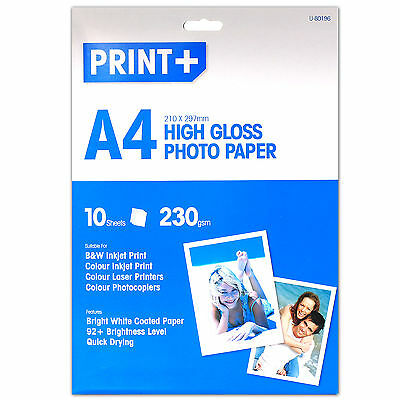 ULTRA HIGH QUALITY 10 Sheets Of A4 230gsm THICK High Gloss Photo Printer Paper