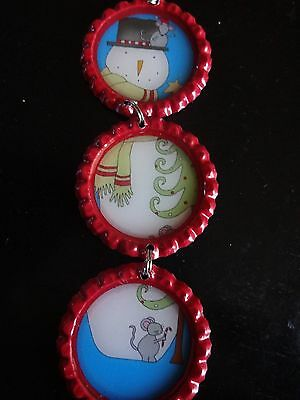 Bottle Cap Christmas Ornament: Snowman traditional with flare HANDMADE unique