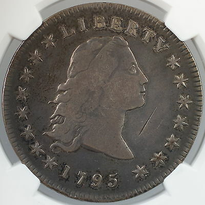 1795 Flowing Hair Silver Dollar Coin $1 NGC VF Details Obverse Damage
