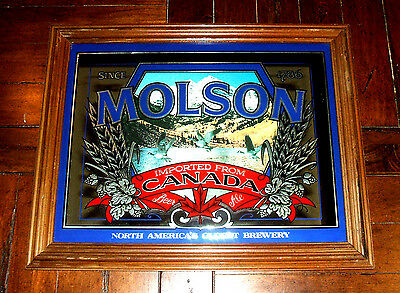 Vintage MOLSON Canada Beer Mirror Framed Sign / Bar Tavern Restaurant Man Cave