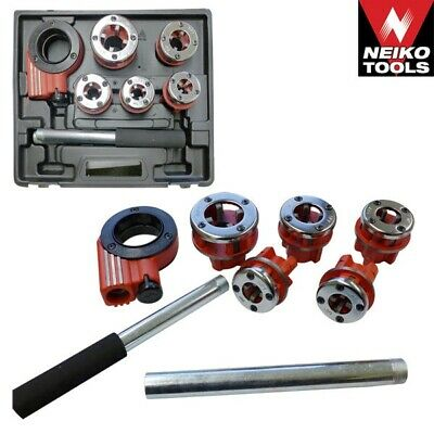 9PC PIPE THREADER TOOL WITH RATCHET HANDLE & DIES Plumbing DIY Cut New Threads