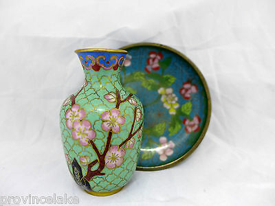 Chinese Cloisonne Ware Vase and Plate SET Blossoms
