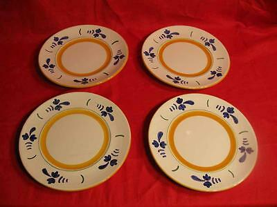 Italian  Pottery 10 inch Hand Painted Plates  (Lot  of 4) Set  #1