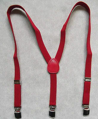 New Boys Classic Clip On Braces Suspenders Red One Size Adjustable Age 2-6