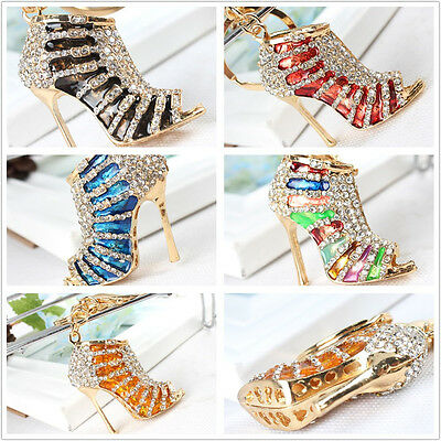 High Heel Shoe Double Crystal HandBag Key Ring Keychain Accessories Party Gift
