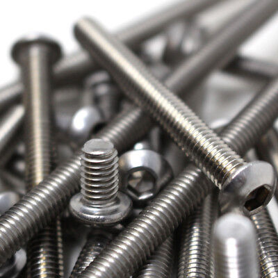 A2 Stainless Steel Button Head Bolts Screw Allen Hex Socket M3 M4 M5 M6 M8 M10