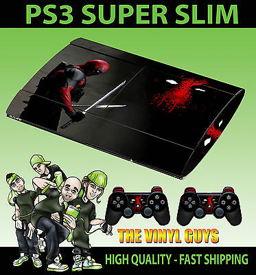 Playstation Ps3 Super Slim Deadpool Mercenary Wade Skin Sticker & 2 Pad Skin
