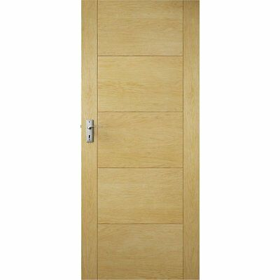 Delicieux External Oak Milano Flush Front Back Entrance Modern Grooved Solid Core Door