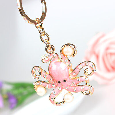 Pink Octopus Pearl Pendant Charm Crystal Purse Bag Key Ring Chain Christmas Gift