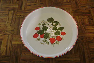 "10"" ROUND STRAWBERRY FLORAL PORCELAIN QUICHE PIE DISH Made in Japan Exc Cond"