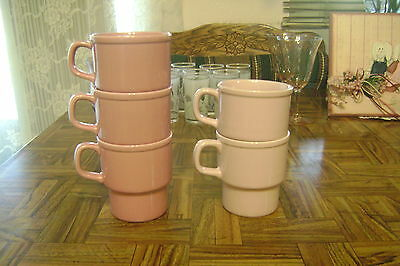 Lot of 5 Retro Vintage Pastel Pink Drip JAPAN Stackable Coffee MUGS/CUPS