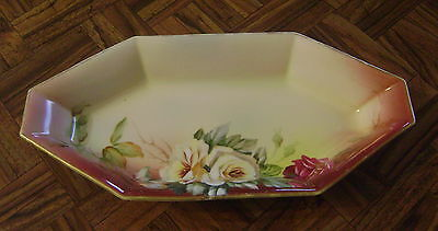 Old NIPPON Relish Dish Hand Painted Flowers w/ Gold Trim Six Sided Beautiful!