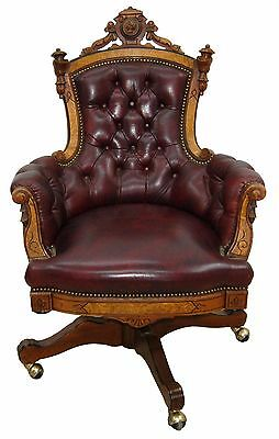 Renaissance Revival Walnut Swivel Chair in Burgundy Leather #7747