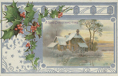 Embossed Postcard - A Glad Christmas Time - Snow Covered House