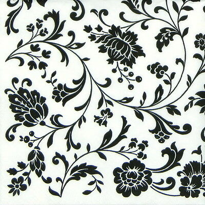 4x Paper Napkins -Arabesque White and Black- for Party, Decoupage