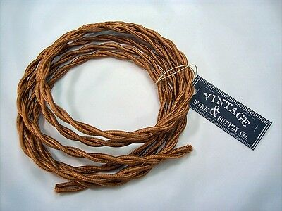 Bronze 7ft Cloth Covered Twisted Wire - Antique Fan Restoration Lamp Cord Rewire