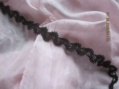 ANTIQUE VICTORIAN FRENCH DELICATE SILK CORDED TINY PICOT TRIM INK BLACK 20x1 1/8
