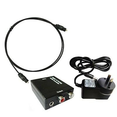 3.5mm Digital Optical Coaxial Toslink to Analog Audio Converter Adapter RCA L/R
