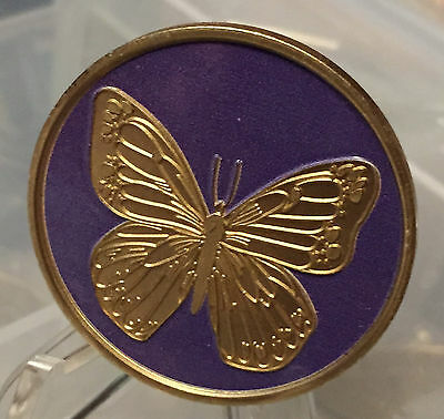 Purple & Bronze Butterfly Serenity Prayer Recovery Medallion Chip Coin AA NA