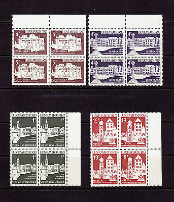 Luxembourg 1975 Architecture #555-58 VF MNH blocks of 4 cat $19.60