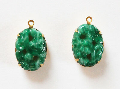 VINTAGE 2 GREEN OPAQUE CUT OUT OVAL FLOWER PENDANT BEADS 13x 18mm MOTTLED JADE