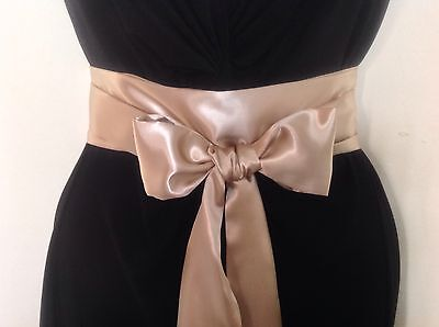 "2.5""x85"" Gold Satin Sash Fabric Self Tie Bow Belt For Wedding Prom Party Dress"