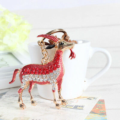 Zodiac Goat Sheep Cute Red Charm Pendant Rhinestone Crystal Keyring Key Chain