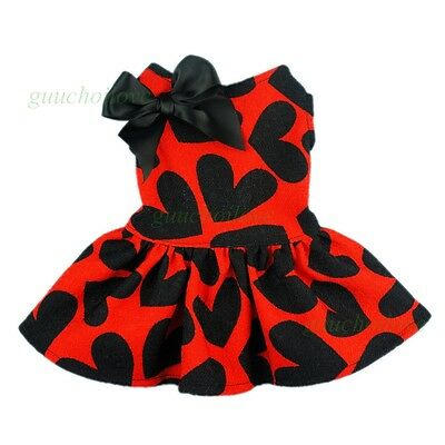 "14""Chest Cute Hearts Dog Dress Small Pet Clothes Party Puppy Shirts Bow Apparel"