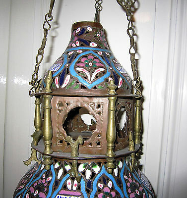 Antique 19th Century Syrian Islamic Enamelled Copper Mosque Lamp