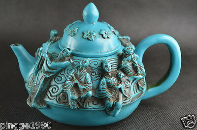 Chinese Old Collectibles Handwork Turquoise Caving The Eight Immortals Tea