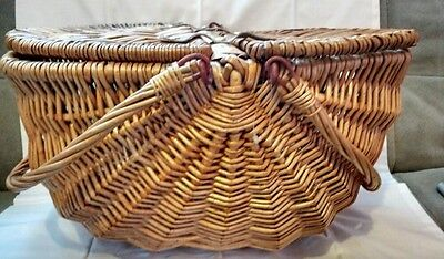 Large woven wood basket double handle covered