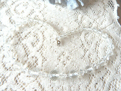 Vintage Art deco Necklace Glass Faceted Crystal Graduated Choker Strung