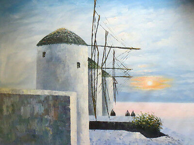 Windmill 48 x 36 inches Large Canvas Oil Art Hand Made Painting