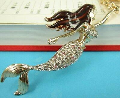 Mermaid Beauty Sea Fish Pendent Charm Swarovski Crystal Purse Bag Keychain Gift
