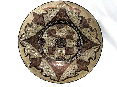 MIDDLE EASTERN OTTOMAN COPPER DECORATIVE HANGING PLATE PLATTER ENGRAVED SIGNED