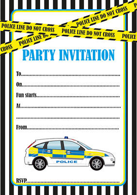 10 X Police Children Birthday Party Invitations Or Thank You Cards