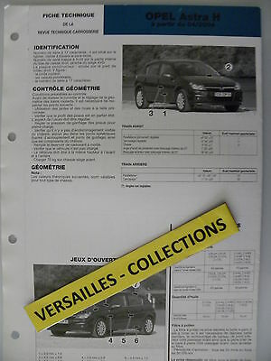 Fiche technique automobile carrosserie OPEL ASTRA H à partir du 04 / 2004