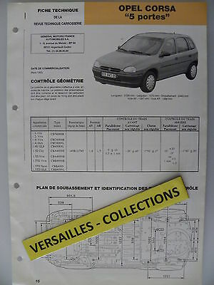 Fiche technique automobile carrosserie OPEL CORSA 5 portes
