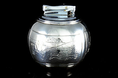 1963 SOLID STERLING SILVER TABLE CIGAR LIGHTER WITCHBALL COMYNS HUNTING SCENES