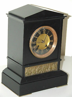 Antique 19th C. German Slate Mantel Clock : Hamburg - Amerikanische Uhrenfabrik